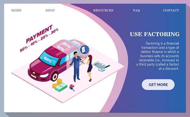 Zakup Samochodu, Płatność Samochodowa Przez Banner Części. Premium Wektorów