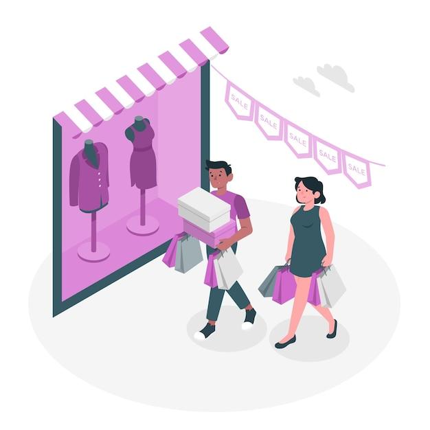 Zakupy Nie Online Ilustracja Koncepcja Darmowych Wektorów