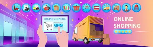 Zakupy Online. Centrum Handlowe Ze Sklepami, Ikonami I Ciężarówką. Ikona Premium Wektorów