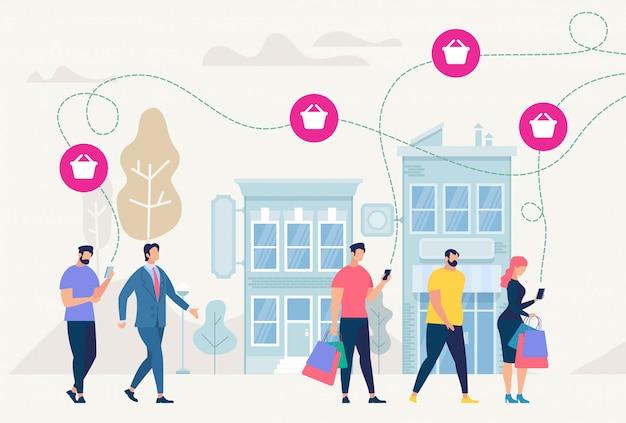 Zakupy online i sieć. ilustracja wektorowa. Premium Wektorów