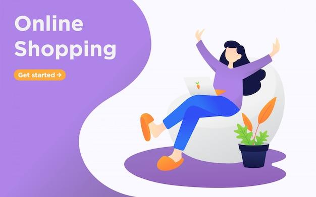 Zakupy online ilustracji strony docelowej Premium Wektorów