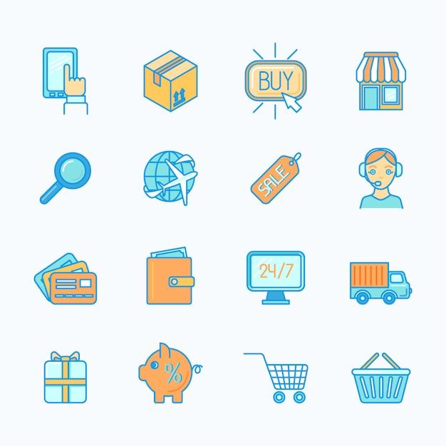 Zakupy online internet detalicznej e-commerce płaskiej linii zestaw ilustracji wektorowych na białym tle Premium Wektorów