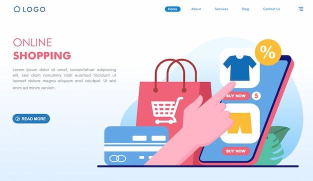 Zakupy online łatwe kupowanie strony docelowej w płaskim stylu Premium Wektorów