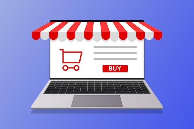 Zakupy Online Marketing Koncepcyjny I Marketing Cyfrowy. Sklep Internetowy, Ilustracja Laptopa Premium Wektorów