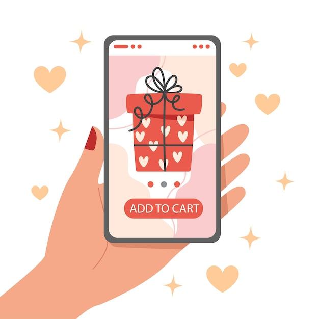 Zakupy Online Na Prezent Na Walentynki Za Pomocą Smartfona Premium Wektorów
