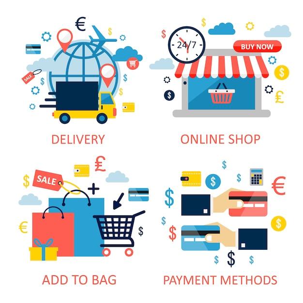 Zakupy online. płaskie elementy graficzne, znaki, symbole, zestaw ikon linii. najwyższej jakości. Premium Wektorów