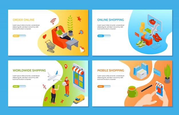Zakupy Online Poziome Bannery Z Ludźmi Dokonującymi Zakupów W Internecie Za Pomocą Komputera I Telefonu Komórkowego Izometryczny Darmowych Wektorów