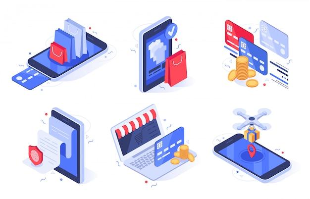 Zakupy Online. Sklep Internetowy Biznes, Handel Cyfrowy I Zestaw Ilustracji Płatności Kartą Bankową Premium Wektorów