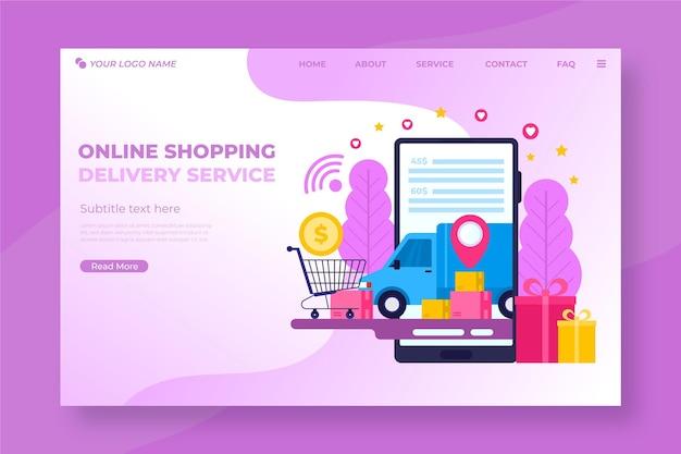 Zakupy Online Strona Docelowa W Płaskiej Konstrukcji Darmowych Wektorów