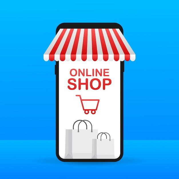 Zakupy Online W Witrynie. Sklep Internetowy, Koncepcja Sklepu Na Ekranie Smartfona Premium Wektorów