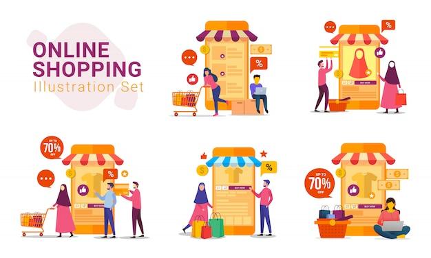 Zakupy Online Z Zestawem Ilustracji Urządzenia Mobilnego Premium Wektorów