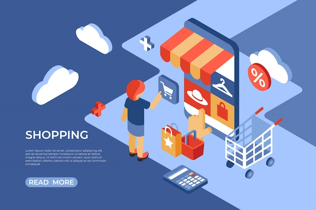Zakupy W Sklepie Internetowym Izometryczna Strona Docelowa Premium Wektorów