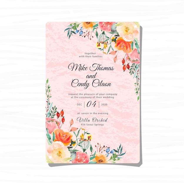 Zakurzone różowe zaproszenie na ślub z kwiatową akwarelą Premium Wektorów
