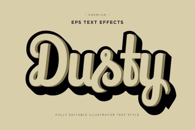 Zakurzony Styl Tekstu 3d - Efekt 3d Tekstu Premium Wektorów