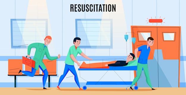 Załoga Pogotowia Ratunkowego Spieszy Rannego Pacjenta Do Szpitala Na Oddział Resuscytacji Resuscytacji Płaskiej Kompozycji Darmowych Wektorów