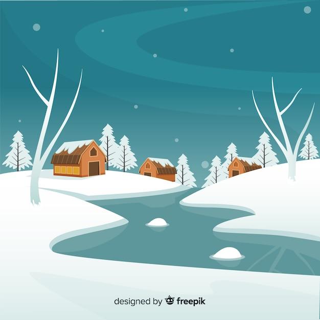 Zamarznięty rzeczny zima krajobraz Darmowych Wektorów