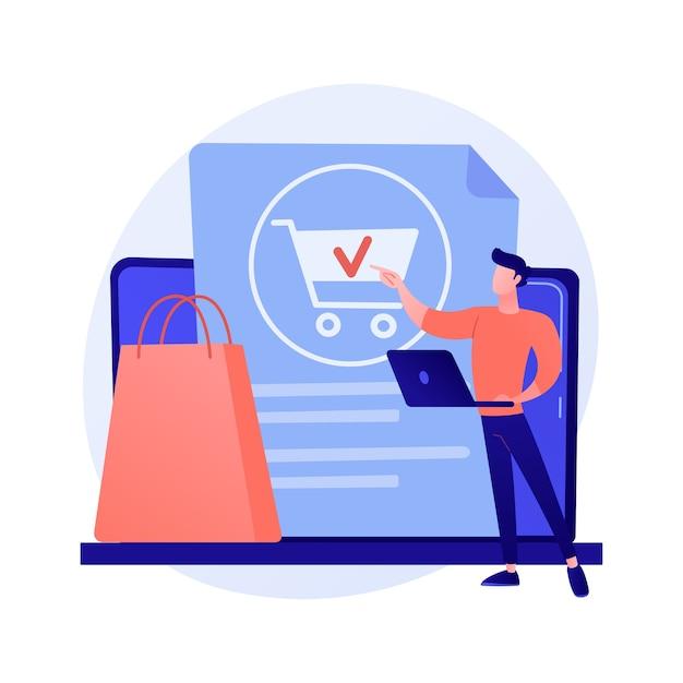 Zamawianie Online, Robienie Zakupów, Kupowanie Towarów Na Stronie Sklepu Internetowego. Kobieta Klient Z Tabletem, Dodając Produkt Do Koszyka Postać Z Kreskówki. Darmowych Wektorów