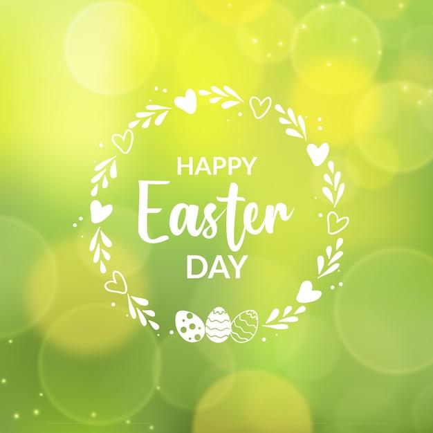 Zamazany Szczęśliwy Dzień Wielkanocy I Efekt Bokeh Darmowych Wektorów