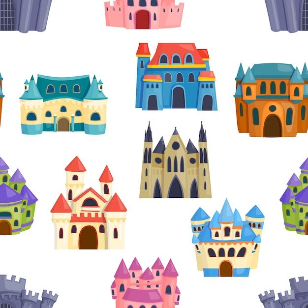 Zamek bez szwu, bajkowy krajobraz. magiczny średniowieczny fantazyjny pałac marzeń. Premium Wektorów