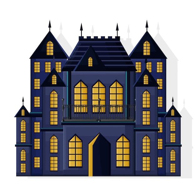 Zamek ciemnego koloru halloween z żółtymi światłami Premium Wektorów