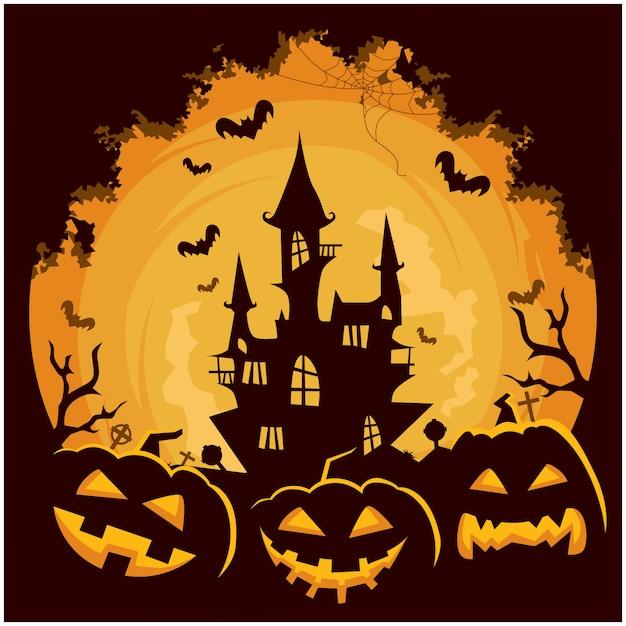 Zamek halloween tło dyni Premium Wektorów