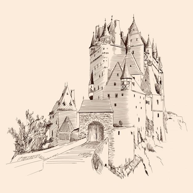 Zamek I Krajobraz. Premium Wektorów