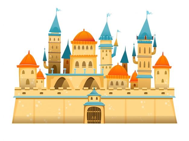 Zamek Kreskówka. Zamek Z Bajki. Pałac Bajki Fantasy. Ilustracja. Premium Wektorów