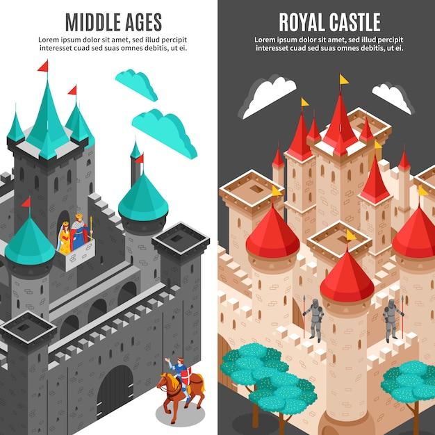 Zamek królewski pionowy zestaw bannerów Darmowych Wektorów