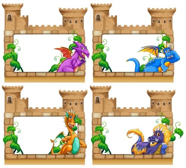 Zamek Ramki Kolekcji Premium Wektorów