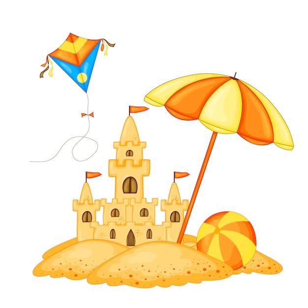 Zamek z piasku na plaży nad wodą i napis Premium Wektorów