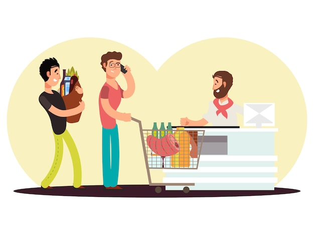 Zamiana Gotówki W Sklepie Spożywczym. Postać Z Kreskówki Mężczyzna Kupują Jedzenie W Supermarketa Vecor Ilustraci Premium Wektorów