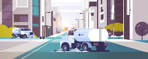 Zamiatarki Uliczne Mycie Asfaltu Wodnym Pojazdem Przemysłowym Premium Wektorów