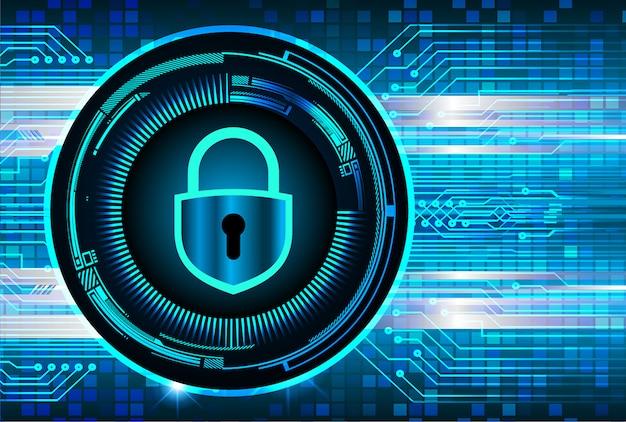 Zamknięta Kłódka Na Cyfrowym Tle, Cyber Bezpieczeństwo Premium Wektorów