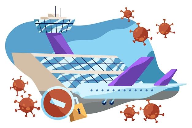Zamknięte Lotnisko Z Powodu Wirusa Pandemii Darmowych Wektorów