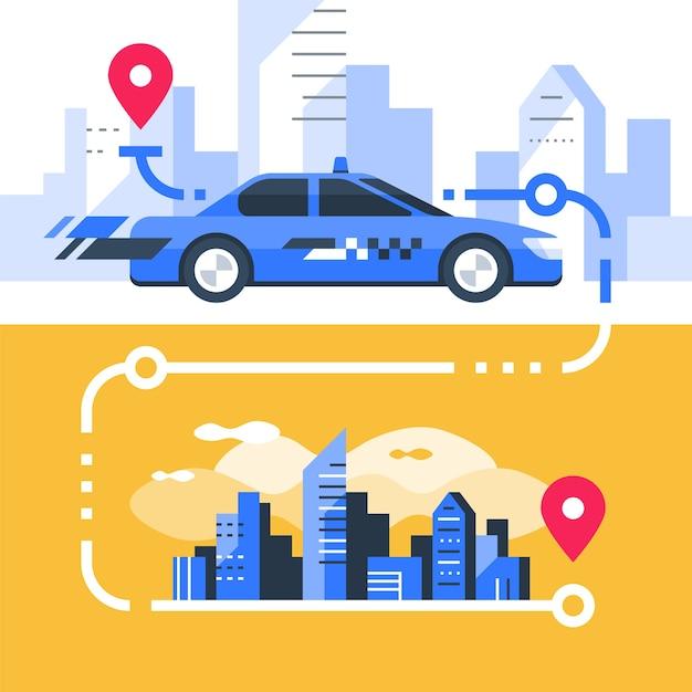 Zamów Taksówkę, Szybką Obsługę, Transport Samochodowy, Wynajem Samochodu, Transfer Do Miasta, Wskaźnik Mapy I Centrum Miasta, Nowoczesny Pejzaż Miejski, Ilustracja Premium Wektorów