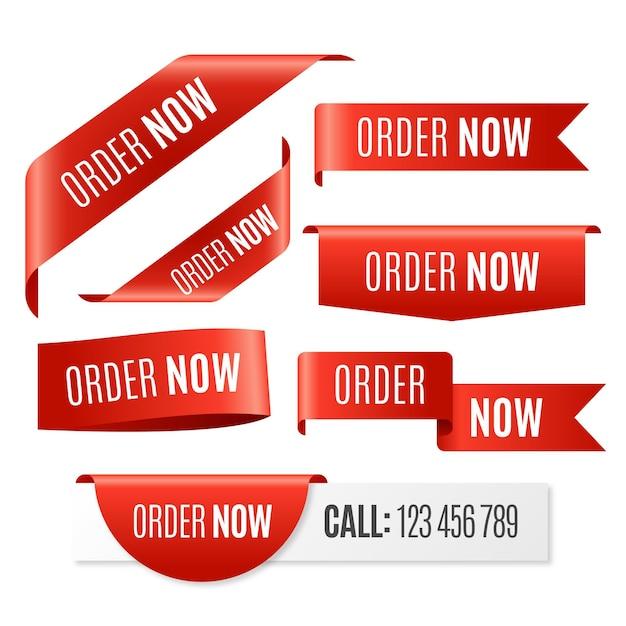 Zamów Teraz - Kolekcja Etykiet Darmowych Wektorów