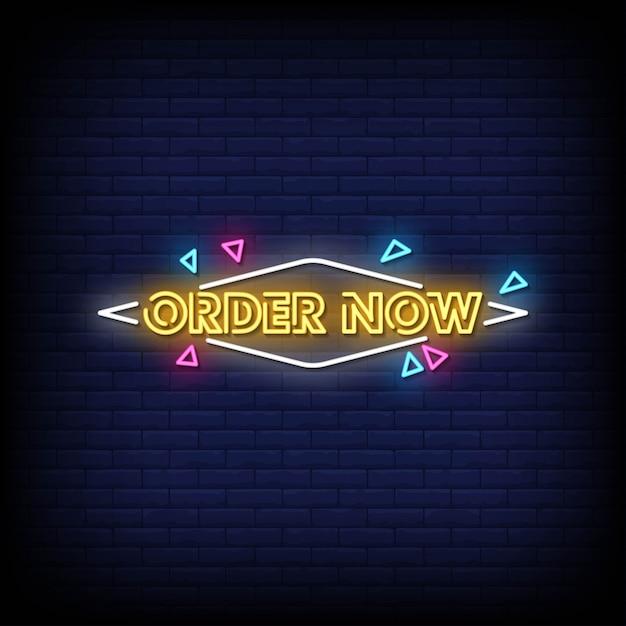 Zamów Teraz Tekst W Stylu Neonów Premium Wektorów