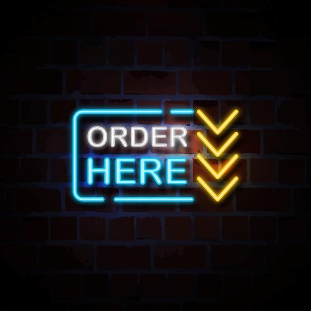 Zamów Tutaj Neonową Szyldową Ilustrację Premium Wektorów
