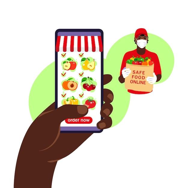 Zamówienie Jedzenia Online. Dostawa Artykułów Spożywczych. Ręka Trzyma Smartfon Z Katalogiem Produktów Premium Wektorów