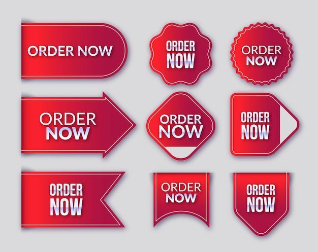 Zamówienie Promocyjne Ma Teraz Ustawione Etykiety Premium Wektorów