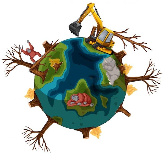 Zanieczyszczenia Na Ziemi Przez Umierające Zwierzęta Darmowych Wektorów