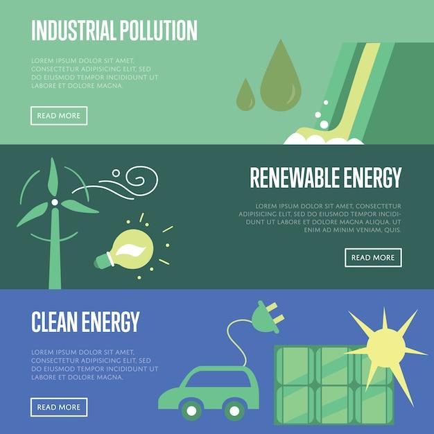 Zanieczyszczenia Przemysłowe. Odnawialna I Czysta Energia. Premium Wektorów
