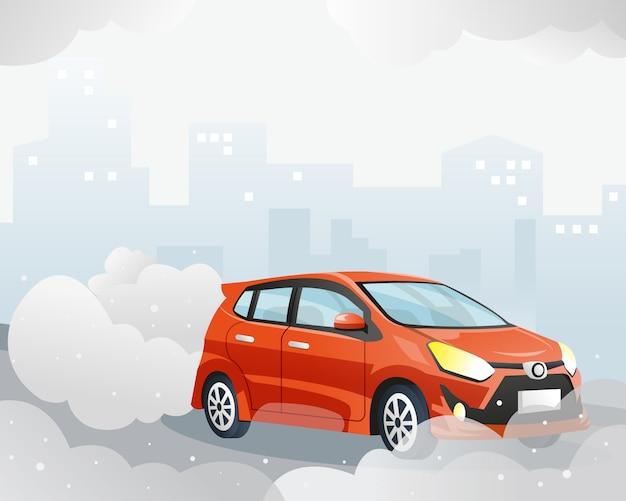 Zanieczyszczenie Powietrza Przez Samochód Premium Wektorów