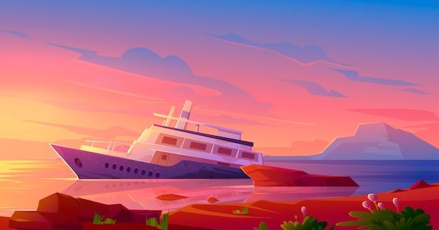 Zapadnięty Statek Wycieczkowy W Oceanu Schronieniu Przy Zmierzchem Darmowych Wektorów