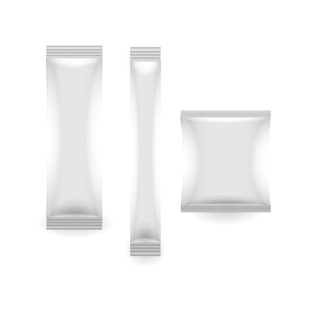 Zapakuj Plastikową Saszetkę Papierową W Opakowaniu Premium Wektorów