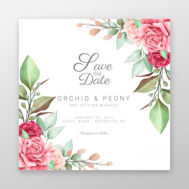 Zapisz datę dzięki dekoracyjnej granicy z kwiatami akwareli Premium Wektorów