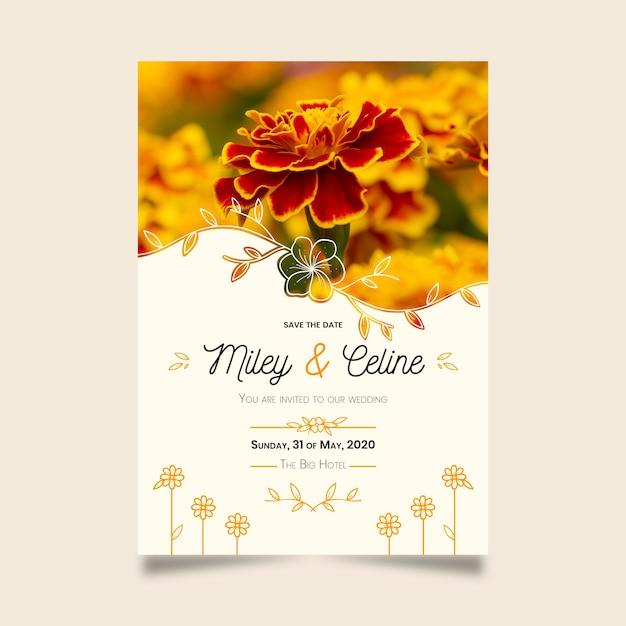 Zapisz Datę Dzięki Pięknym Złotym Kwiatom Darmowych Wektorów