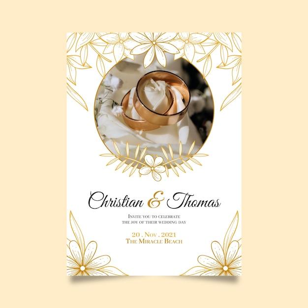 Zapisz Datę Dzięki Zaproszeniu Na Złote Obrączki ślubne Darmowych Wektorów