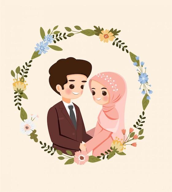 Zapisz Datę. Słodka Para Muzułmańskich Kreskówka Z Wieniec Na Kartę Zaproszenia ślubne Premium Wektorów