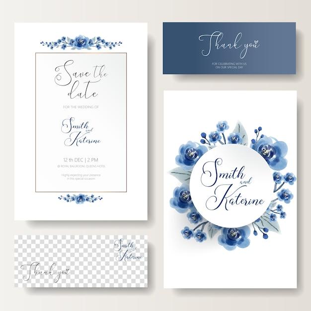 Zapisz Datę Specjalna Karta ślubna Niebieska Róża Wzór Tekstura Premium Wektorów